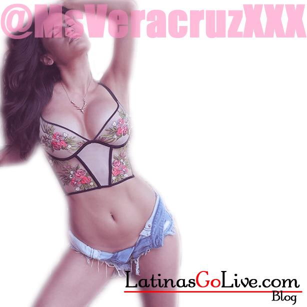 Sexy latina cam girl Vanessa Veracruz posing in denim shorts