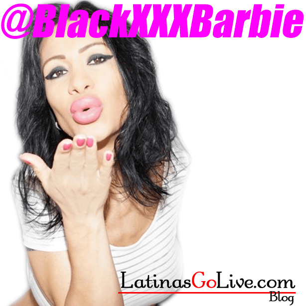 BlackxxxBarbie blows a kiss with her fake lips