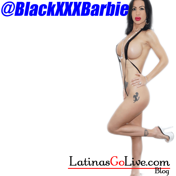 Cam girl BlackxxxBarbie from jasmin.com in black micro bikini so you can see her silicone tits